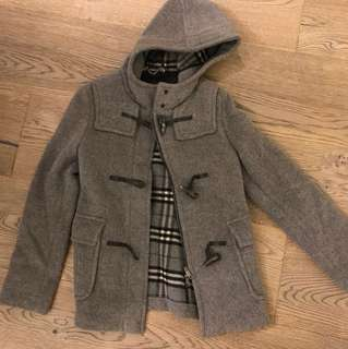 Burberry grey hooded wool coat