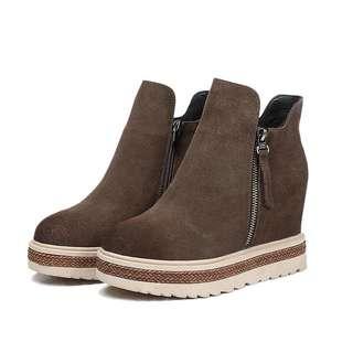 「新品推薦」韓版時尚百搭磨砂皮厚底內增高踝短靴