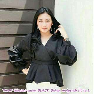 Vs TAO7-kimono susan BLACK  l atasan fashion baju blouse hitam wanita
