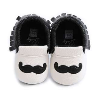 Adorable Black Mustache Baby Shoes