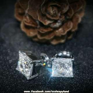 實物拍攝 超閃高炭鑽925純銀6層包金公主方耳環
