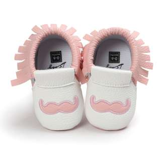Adorable Pink Mustache Baby Shoes
