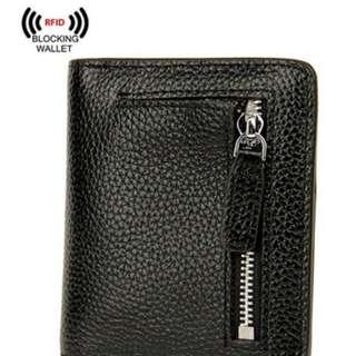 Black Leather Wallet - RFID Blocking AINIMOER