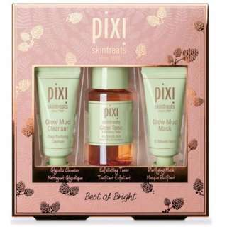 Pixi Best Of Bright Set. Glow Mud Cleanser, Tonic Exfoliating Toner & Mud Mask GIFT SET BRAND NEW & AUTHENTIC (NO OFFERS)
