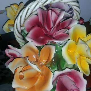 Vintage Ceramic Flowers & Fruits Decoration