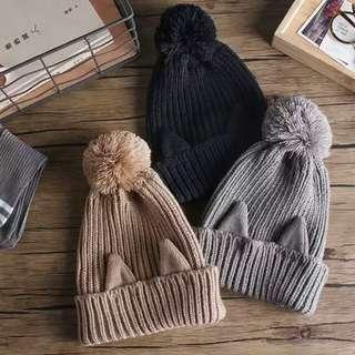 日本純色毛線前後貓耳朵尾巴毛球保暖帽毛線帽