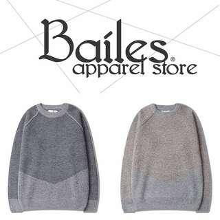 貝里斯Bailes【AS049】日韓版 / 男女款 日韓款復古英倫風格刷色線條修身設計圓領針織細棉毛衣