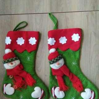 可愛小雪人聖誕襪2隻(裝飾)#五十元好物