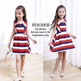 Kids wear pearl chiffon Combined stripe dress