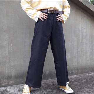 斜紋布高腰落地褲 黑色 直筒褲 寬褲 工作褲