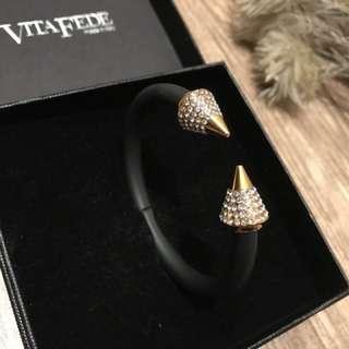 [美國空運來台]VITA FEDE 尖頭5排鑽粗手環 Titan Two Tone Crystal Bracelet
