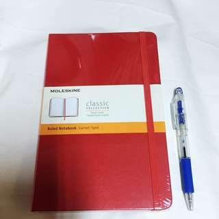 Moleskine ruled notebook (hard cover) include postage