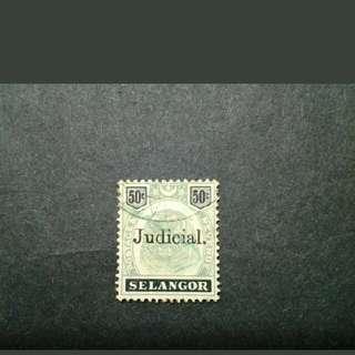 Malaya Selangor 1895 Old Tiger 50c Overprint Judicial - 1v Used Stamp