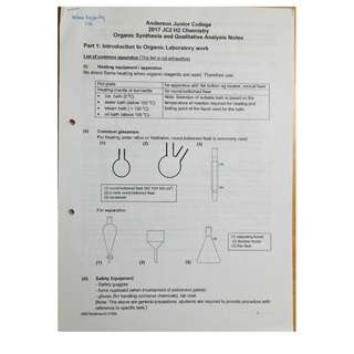 H2 Chemistry A' Level Practical Notes (P4)