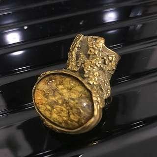 YSL 絕版 琥珀 戒指
