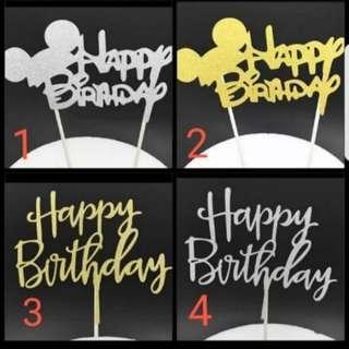 (Buy 4 get 1 free) Gold/Silver Mickey Minnie Happy Birthday Cake topper