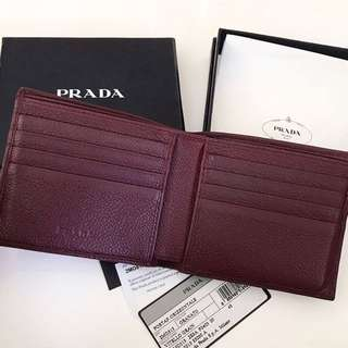 Preloved auth prada wallet in grained leather