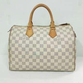 💯Authentic Louis Vuitton Speedy 30 Damier Azur