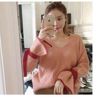 橘粉絲V領喇叭袖針織毛衣上衣