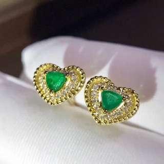 祖母綠💚心形鑽石💎耳釘