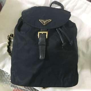 Prada 深藍尼龍 Vintage Chain Backpack ❌ Dior Celine Hermes YSL ferragamo