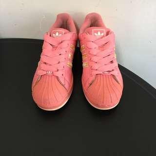 adidas superstar 粉紅色夏日花款 貝殼鞋 23.5