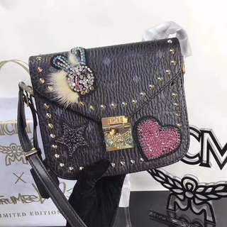 MCM Patricia Shoulder Bag In Embellished Visetos