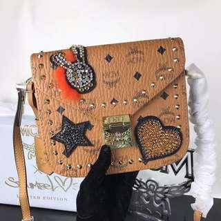 MCM Patricia Shoulder Bag In Embellished Visetos