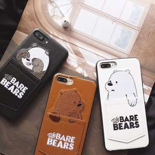 we bare bear phone casing with card holder