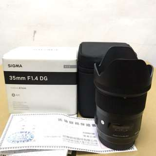 Sigma 35mm f1.4 art for canon. good condition