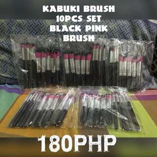 Kabuki brush 10pcs set pink/black