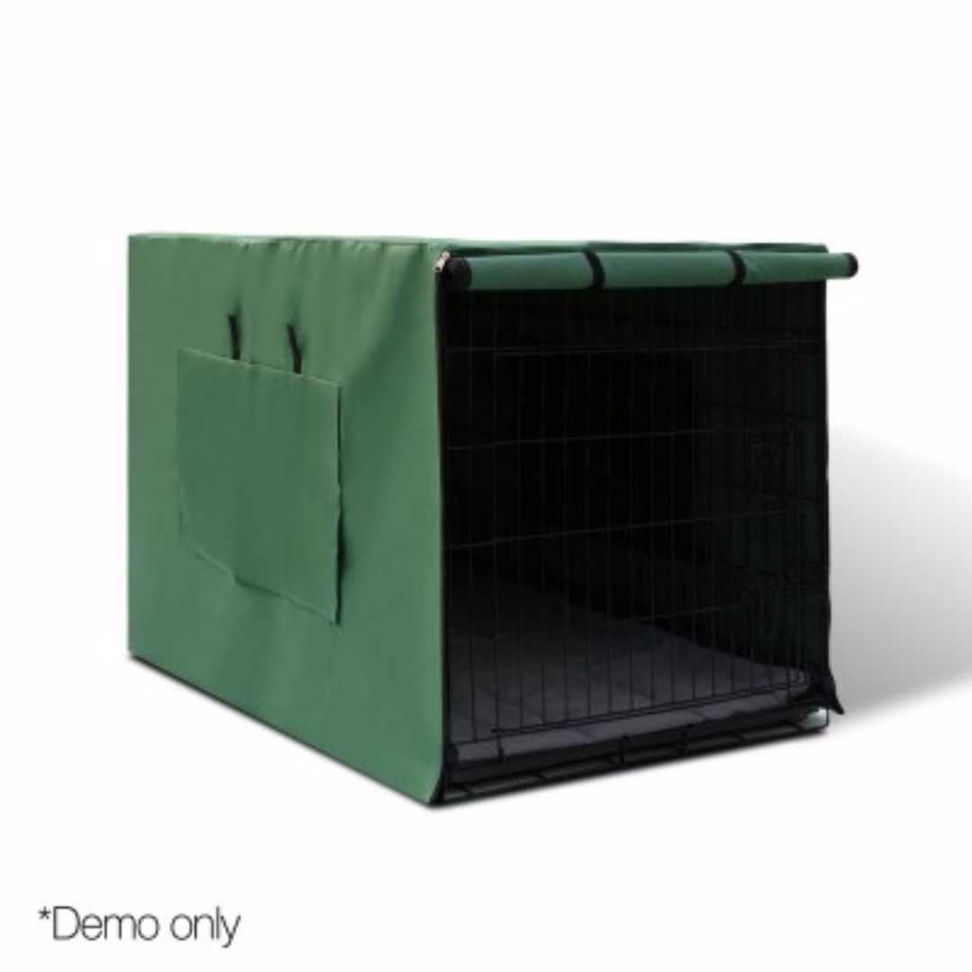"36"" Foldable Metal Dog Cage with Cover Green SKU: PET-DOGCAGECVR-36-GR"