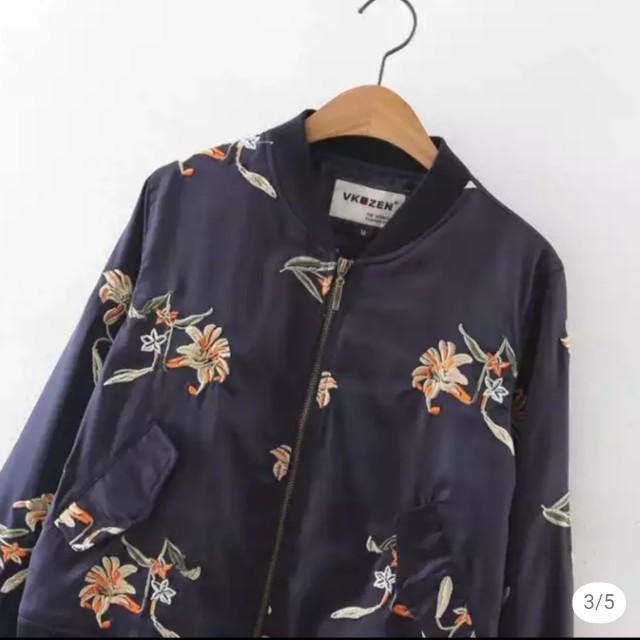 僅試穿、韓國刺繡花色飛行外套