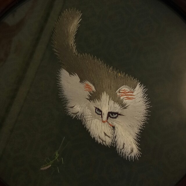 貓戲螳螂-蘇繡
