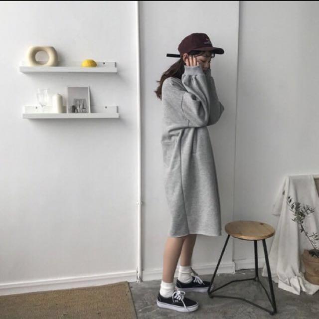 //新品八折♡//秋冬立領衛衣連衣裙抓絨加厚保暖後有口袋
