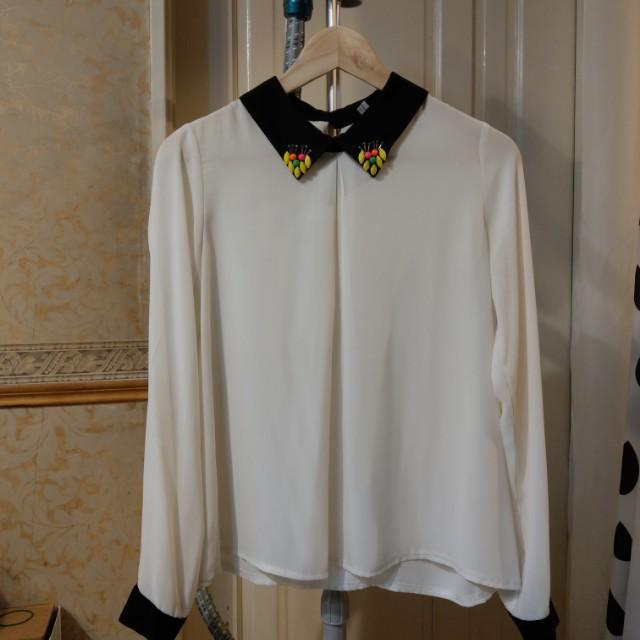 黑白簡約立領雪紡上衣(韓國打板製造)