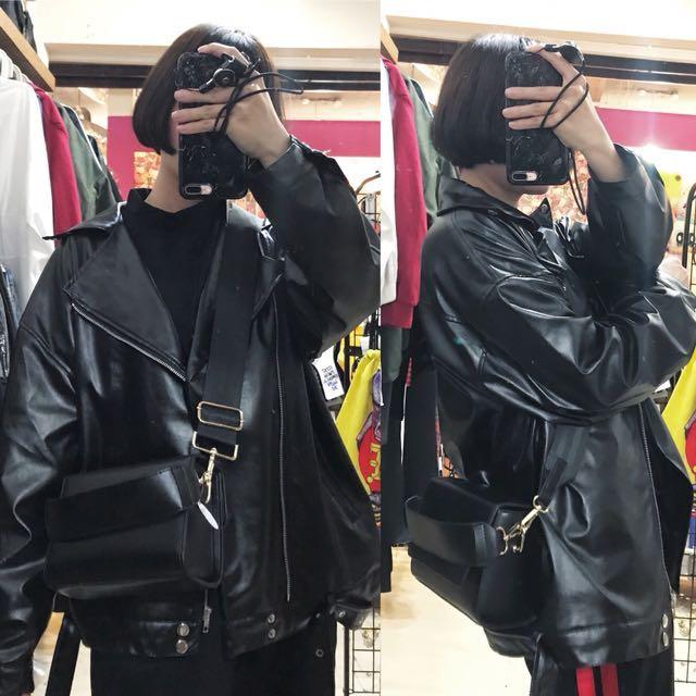 騎士風皮革外套/簡約提把中性側背包