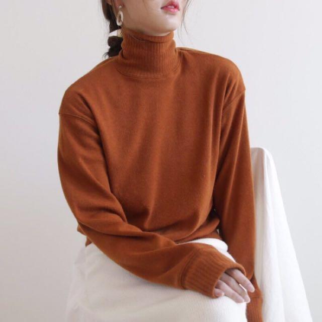 韓版高領針織上衣