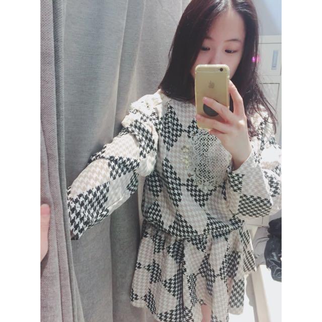 正韓飾品棋盤格縮腰洋裝