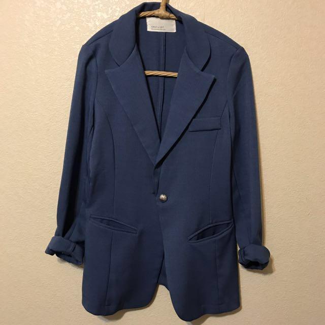 休閒合身水藍西裝外套