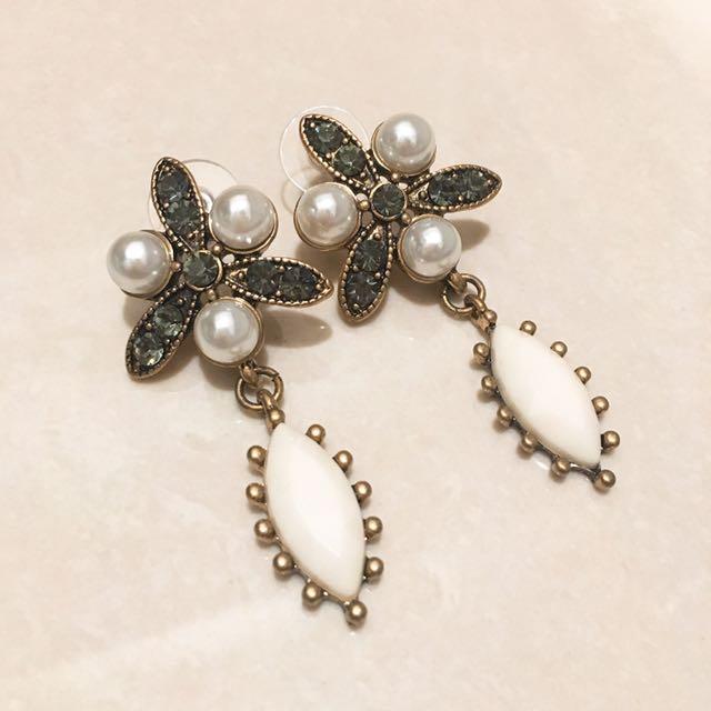 氣質珍珠寶石耳環