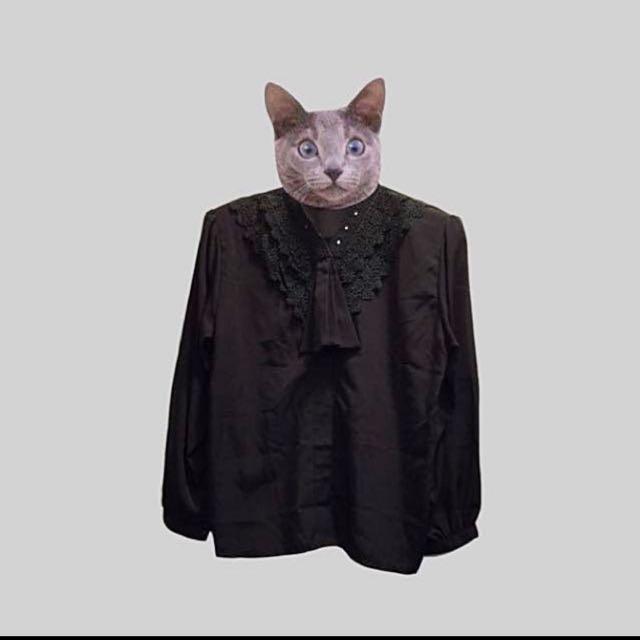 古著 黑色長袖襯衫