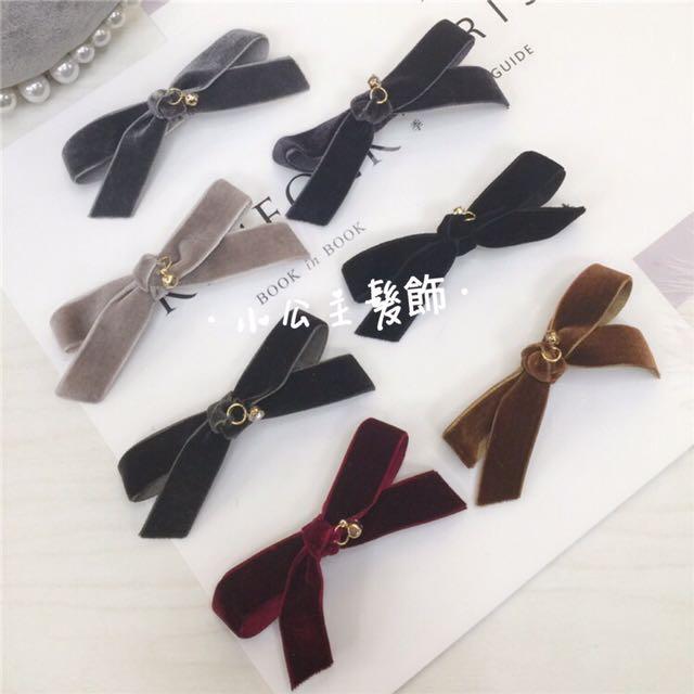 日系 絲絨緞帶🎀水鑽髮夾