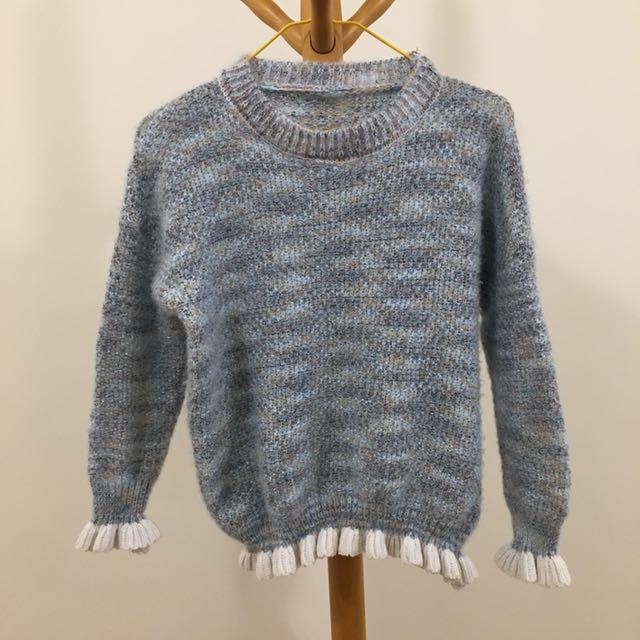 上衣 針織毛衣 藍色