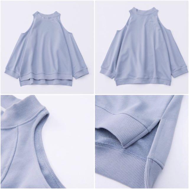 藍色立領露肩 挖肩休閒上衣 #我的女裝可超取