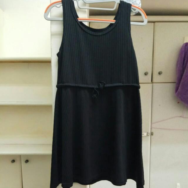 黑 直紋 縮口 無袖 洋裝 #舊愛換新歡