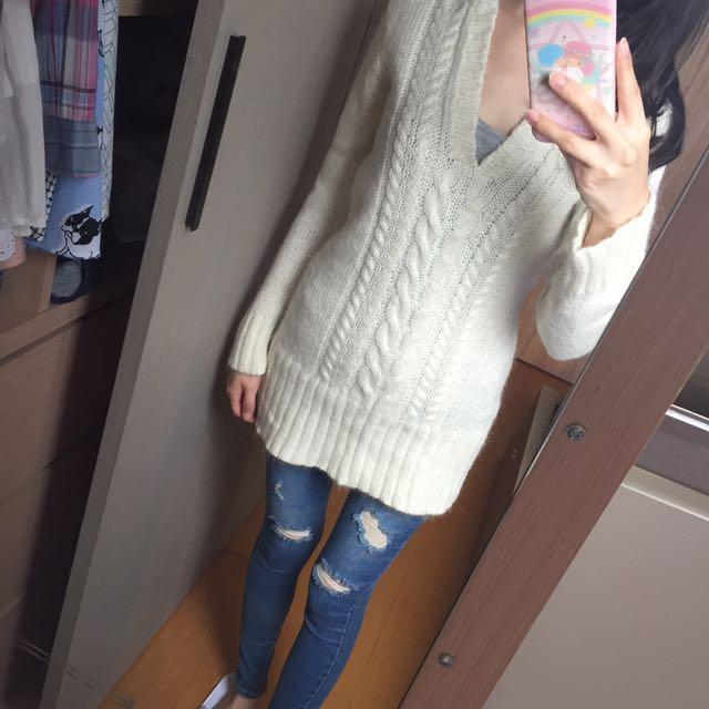 米白色 麻花 連帽 保暖 長版毛衣