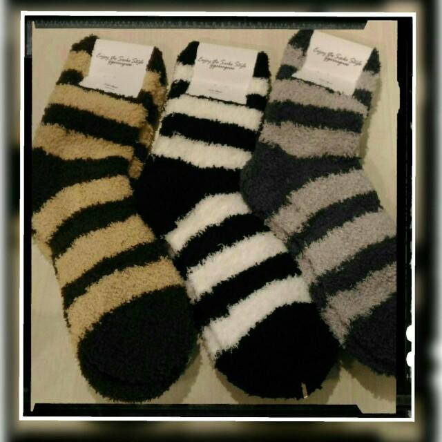 【智美精品屋】韓國絨毛襪  保暖襪  毛襪 短襪 橫條款