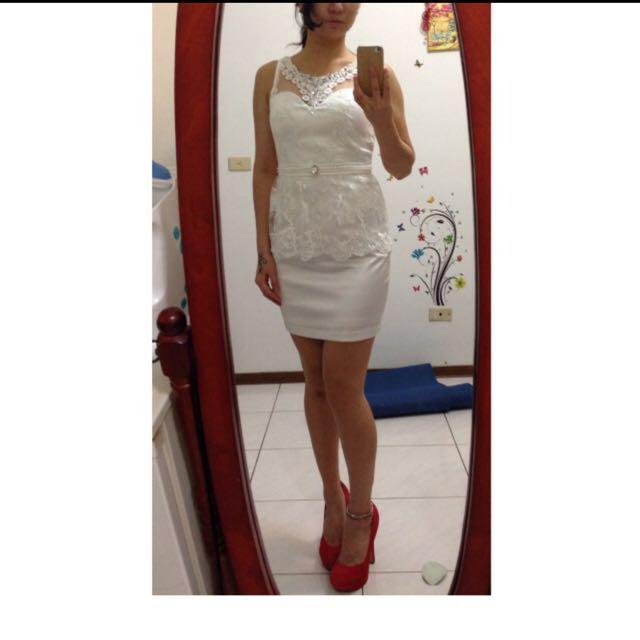 二手-蕾絲氣質白洋裝 M號
