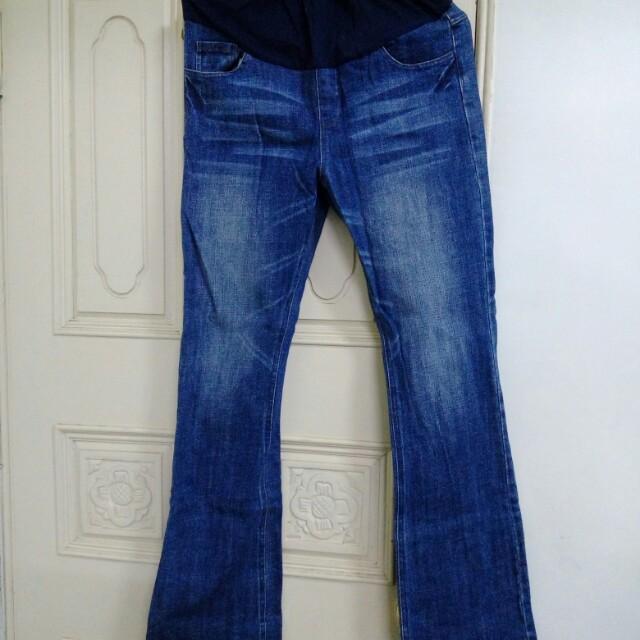 《八成新》A.M.C.S 深藍刷白牛仔孕婦喇叭長褲